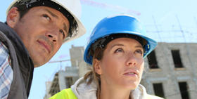 Panorama Poland Construction Sector : two workers : a man and a woman
